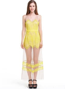 Yellow Sleeveless V-neck Sheer Mesh Crochet Maxi Dress