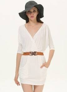 Beige Batwing Sleeve Wrap Front Short Dress