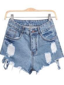 Blue Ripped Fringe Denim Shorts