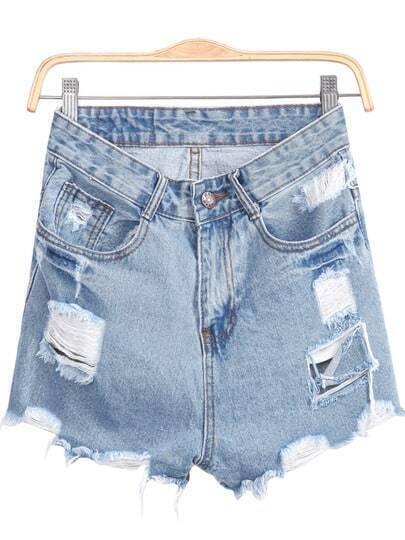 Blue Pockets Fringe Denim Shorts