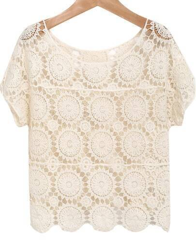 Apricot Short Sleeve Hollow Floral Crochet Blouse