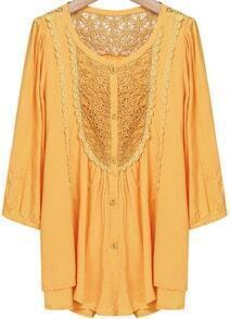 Yellow Long Sleeve Embroidered Buttons Lace Blouse