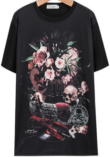 Black Short Sleeve Floral Skull Print T-Shirt