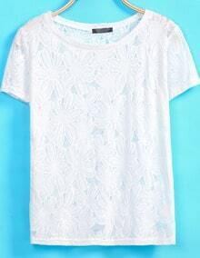 White Short Sleeve Floral Crochet T-Shirt