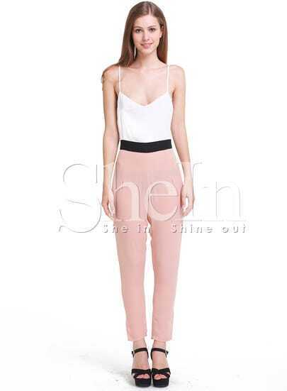 White V-neck Spaghetti Straps Tapered Leg Jumpsuit