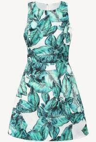 Green Sleeveless Leaves Print Backless Dress