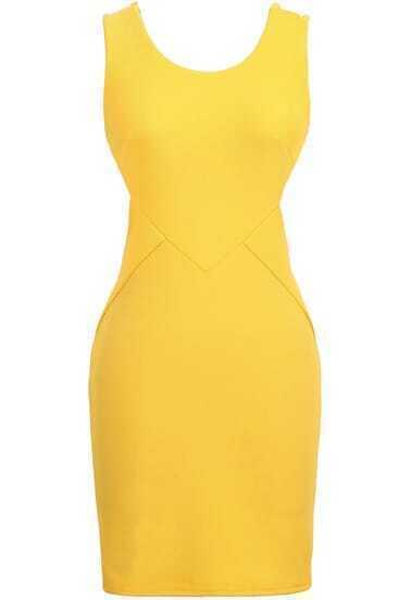 Yellow Sleeveless Midriff Slim Bodycon Dress