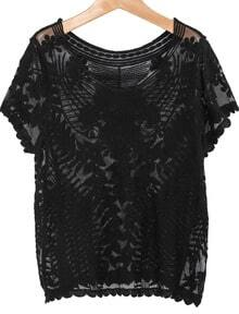 Black Short Sleeve Embroidered Gauze Blouse