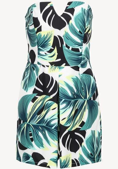 Green Strapless Leaves Print Jumpsuit