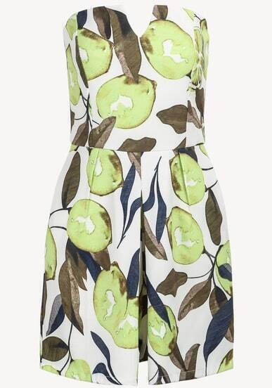Yellow Strapless Leaves Print Jumpsuit