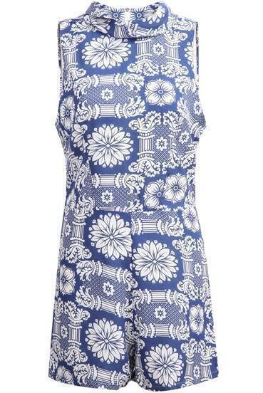 Blue Stand Collar Floral Chiffon Jumpsuit