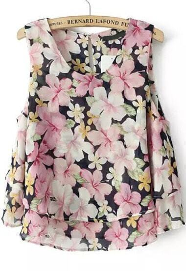 Pink Sleeveless Floral Double Layers Chiffon Blouse