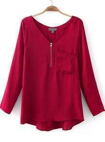 Wine Red V Neck Long Sleeve Zipper Pocket Blouse