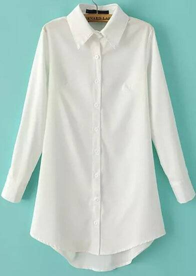 White Lapel Long Sleeve Slim Blouse