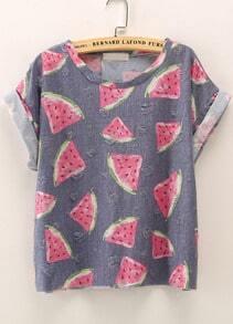 Blue Short Sleeve Watermelon Print T-Shirt