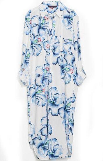 Blue Lapel Floral Split Loose Dress