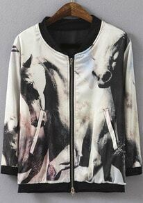 White Long Sleeve Horse Print Jacket