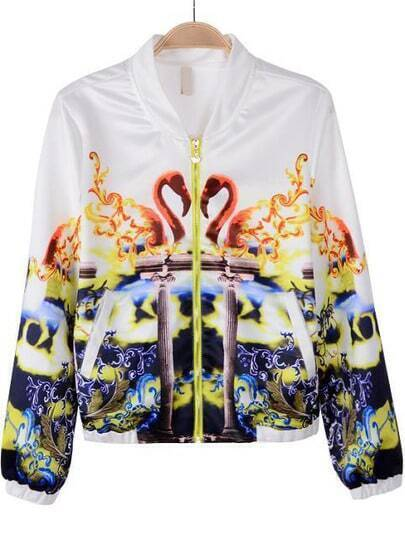 White Long Sleeve Swan Print Chiffon Jacket