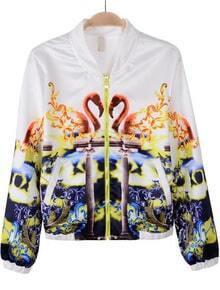 White Long Sleeve Swan Print Chiffon Jacket