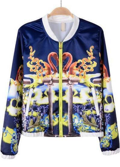 Blue Long Sleeve Swan Print Chiffon Jacket