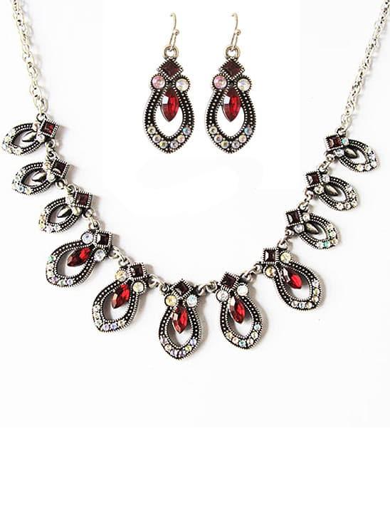 Фото Red Gemstone Drop Tassel Necklace With Earrings. Купить с доставкой