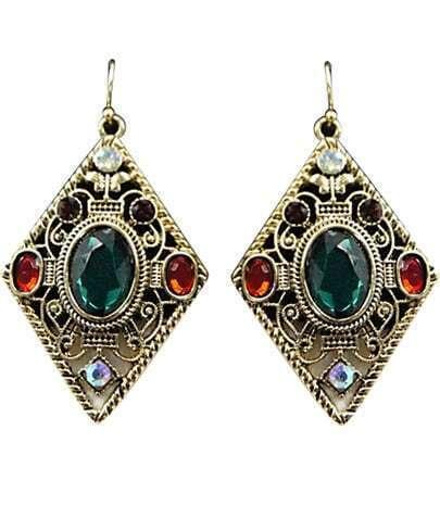 Green Gemstone Retro Gold Hollow Dangle Earrings