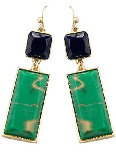Green Black Gemstone Gold Dangle Earrings