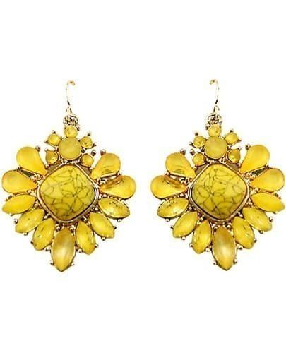Yellow Gemstone Gold Flower Dangle Earrings