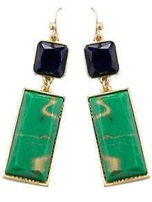 Green Black Gemstone Gold Dangle Earrings