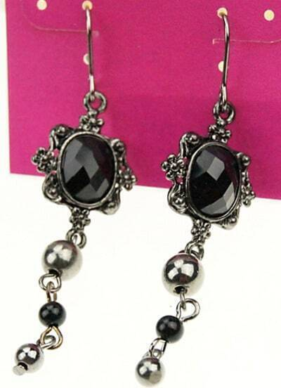 Black Gemstone Bead Dangle Earrings