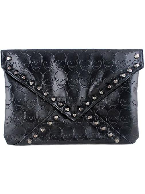 Black Skull Pattern Rivet Clutch Bag