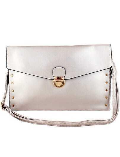 Silver Metal Embellished Clutch Bag