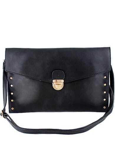 Black Metal Embellished Clutch Bag