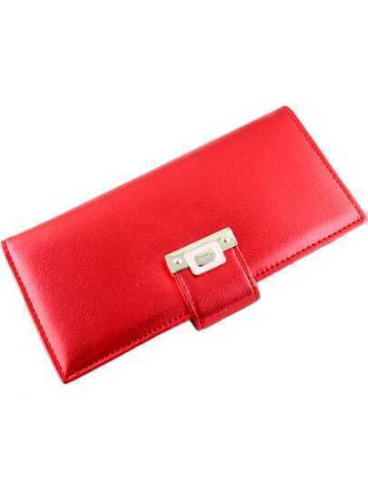 Fashion Red Magnetic Button Clutch Bag
