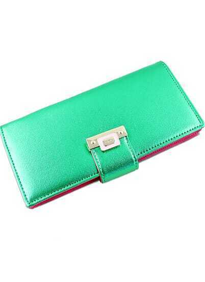 Fashion Green Magnetic Button Clutch Bag