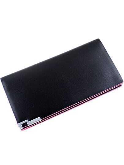 Black Contrast Pink Trims PU Clutch Bag