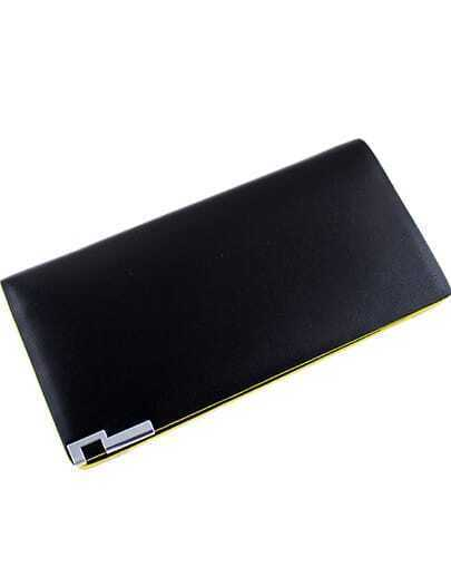 Black Contrast Yellow Trims PU Clutch Bag