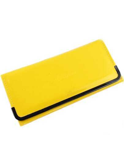 Yellow Metal Embellished Patent Leather Clutch Bag