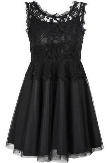Black Contrast Lace Sleeveless Gauze Dress