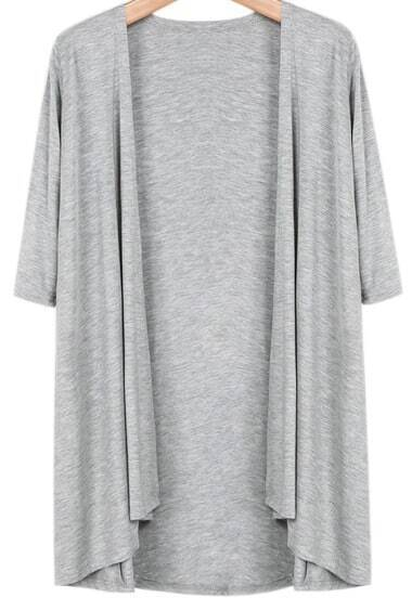 Grey Half Sleeve Casual Loose Outerwear