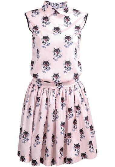 Pink Lapel Sleeveless Fox Print Top With Skirt
