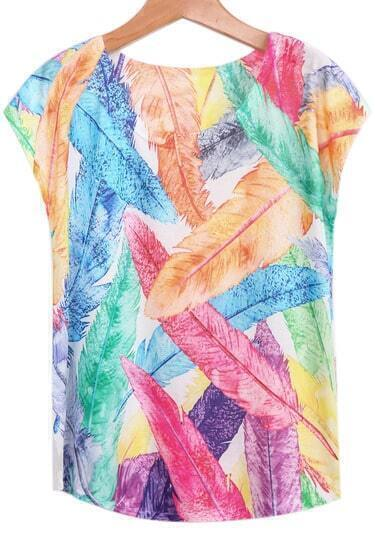 Multicolor Short Sleeve Feather Print Loose T-Shirt