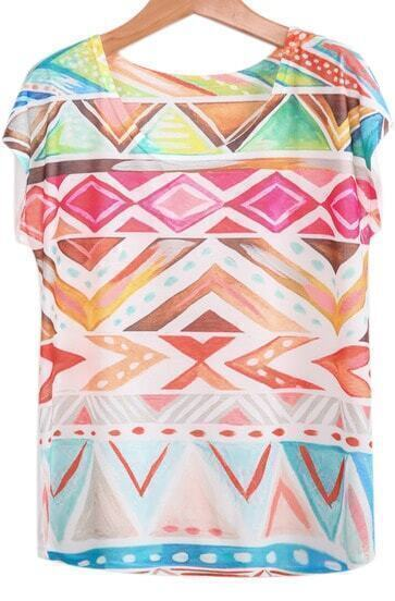 Multicolor Short Sleeve Geometric Print Loose T-Shirt