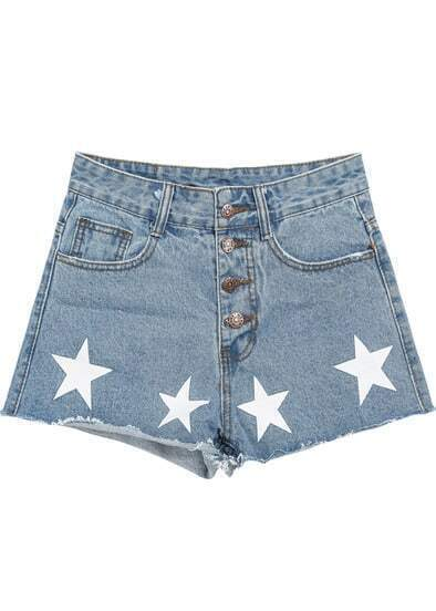 Blue Fringe Stars Print Denim Shorts