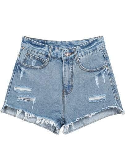 Blue Fringe Ripped Straight Denim Shorts