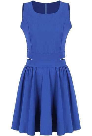 Blue Round Neck Sleeveless Midriff Pleated Dress