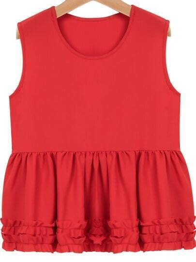 Red Sleeveless Ruffle Pleated Vest