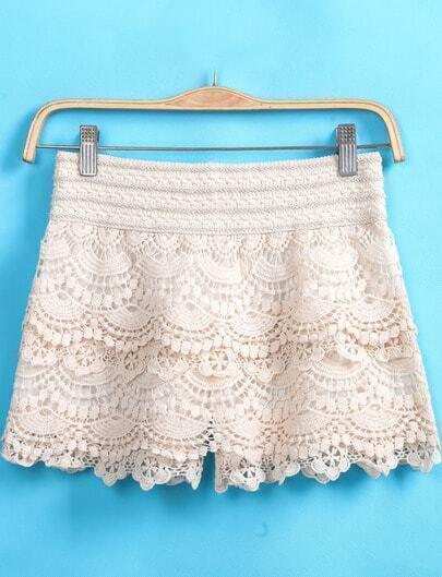 Apricot Floral Crochet Lace Shorts