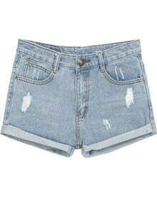Light Blue Ripped Flange Denim Shorts