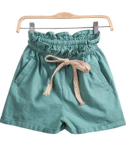 Green Elastic Waist Pockets Shorts